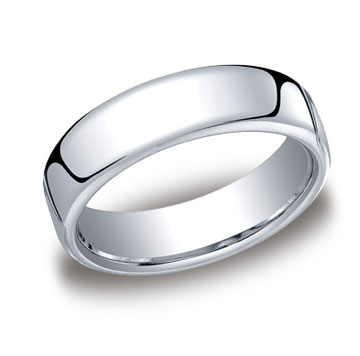 14k White Gold 6.5mm European Comfort-Fit Ring