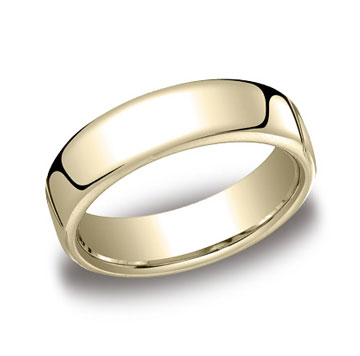 14k Yellow Gold 6.5mm European Comfort-Fit Ring