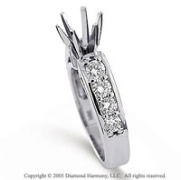 14k White Gold Side Stone 3/4 Carat Diamond Engagement Ring