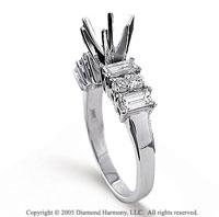 14k White Gold Side Stone Elegant Prong Diamond Engagement Ring