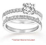 14k White Gold Round 1 Carat Diamond Bridal Set