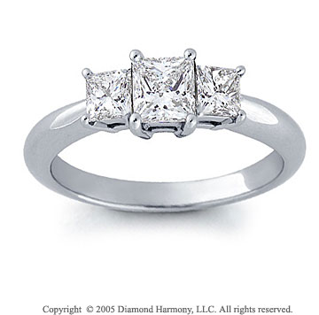 14k White Gold Princess 1.00 Carat Three Stone Diamond Ring