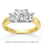 14k Yellow Gold Princess 1.00 Carat Three Stone Diamond Ring