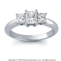 14k White Gold Princess 3/4 Carat Three Stone Diamond Ring
