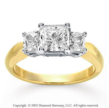 14k Yellow Gold Princess 1/2 Carat Diamond Three Stone Ring