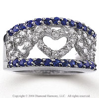 14k White Gold Heart Blue Sapphire Diamond Fashion Ring