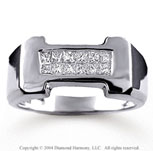 Mens 0.55 CaratW Diamond 14k White Gold Ring