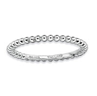Sterling Silver 1.5mm Beaded Stackable Ring
