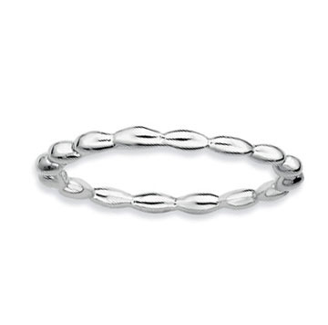 Sterling Silver 1.5mm Oval Beaded Stackable Ring