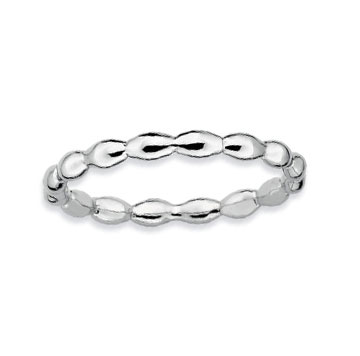 Sterling Silver 2.25mm Oval Beaded Stackable Ring
