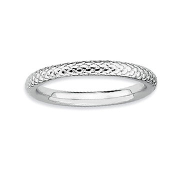 Sterling Silver 2.25mm Carved Stackable Ring