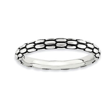 Antiqued Sterling Silver 2.5mm Carved Stackable Ring