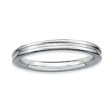 Sterling Silver 2.25mm Ribbed Stackable Ring