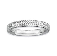 Sterling Silver 3.25mm Carved Stackable Ring