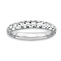 Sterling Silver 3.25mm Hammered Stackable Ring