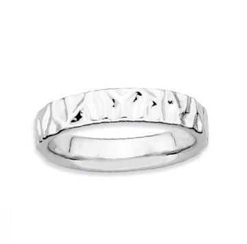 Sterling Silver 4.25mm Hammered Stackable Ring