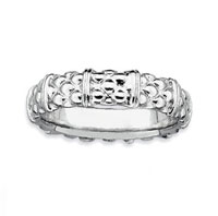 Sterling Silver 4.25mm Carved Stackable Ring