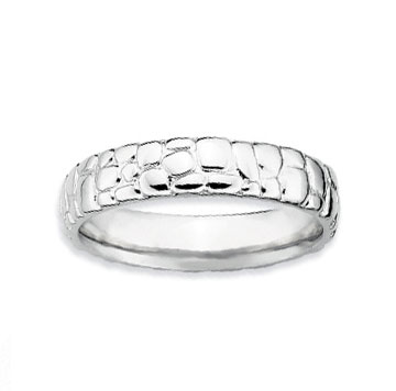 Sterling Silver 4.5mm Carved Stackable Ring
