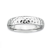 Sterling Silver 4.5mm Hammered Stackable Ring