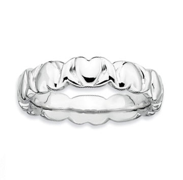 Sterling Silver 4.5mm Hammered Hearts Stackable Ring