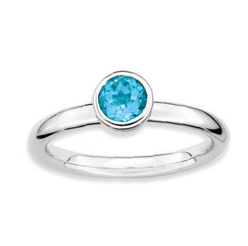 Sterling Silver 2.25mm 1/2 Carat Blue Topaz Stackable Ring