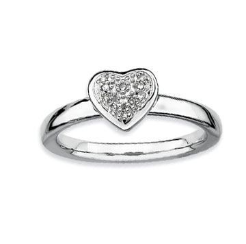 Sterling Silver 2.25mm Diamond Heart Stackable Ring