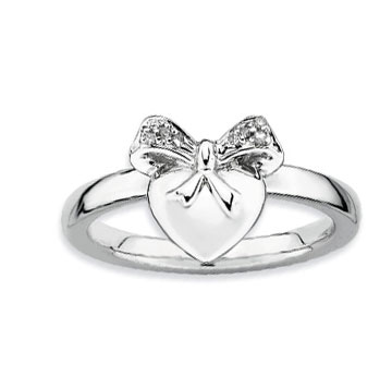 Sterling Silver 2.25mm Diamond Heart With Bow Stackable Ring