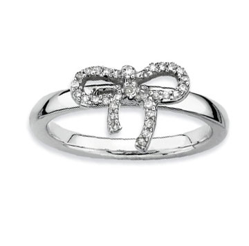 Sterling Silver 2.25mm Diamond Bow Stackable Ring