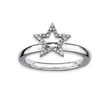 Sterling Silver 2.25mm Diamond Star Stackable Ring