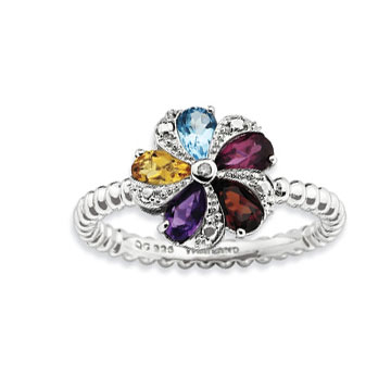 Sterling Silver 2.25mm Multi Gemstone and Diamond Stackable Ring