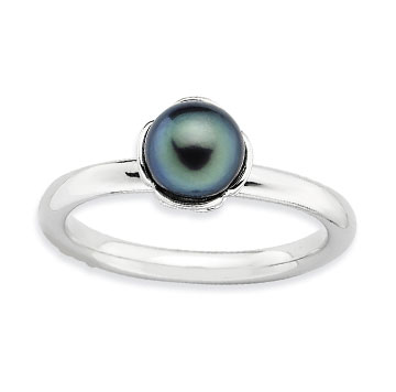 Sterling Silver 2.5mm Black Pearl Stackable Ring