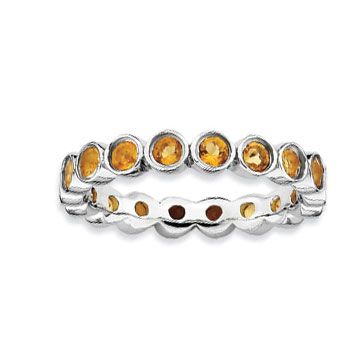 Sterling Silver 3.5mm Bezel Set Citrine Stackable Ring