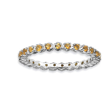 Sterling Silver 2.25mm Citrine Stackable Ring