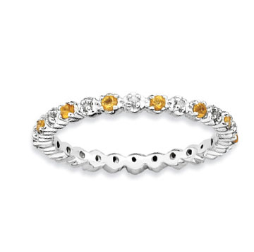 Sterling Silver 2.25mm Citrine and Diamond Stackable Ring