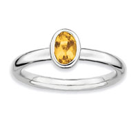 Sterling Silver 2.25mm Oval Citrine Stackable Ring