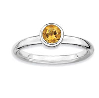 Sterling Silver 2.25mm Round Citrine Stackable Ring