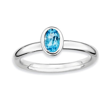 Sterling Silver 2.25mm Oval Blue Topaz Stackable Ring