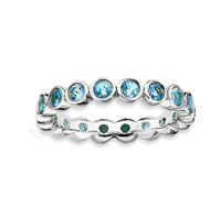 Sterling Silver 3.5mm Bezel Set Blue Topaz Stackable Ring