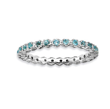 Sterling Silver 2.25mm Blue Topaz Stackable Ring