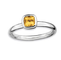 Sterling Silver 2.25mm Cushion Cut Citrine Stackable Ring
