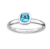 Sterling Silver 2.25mm Cushion Cut Blue Topaz Stackable Ring