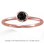 14k Rose Gold Round Bezel Black Diamond Stackable Ring