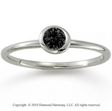 14k White Gold Round Bezel Black Diamond Stackable Ring