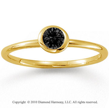 14k Yellow Gold Round Bezel Black Diamond Stackable Ring