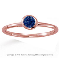 14k Rose Gold Round Bezel Blue Sapphire Stackable Ring
