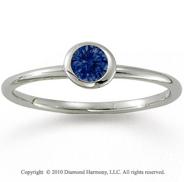14k White Gold Round Bezel Blue Sapphire Stackable Ring