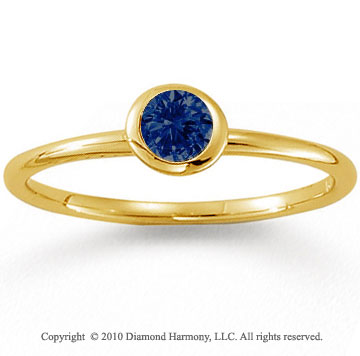 14k Yellow Gold Round Bezel Blue Sapphire Stackable Ring