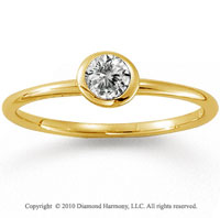 14k Yellow Gold Round Bezel Diamond Stackable Ring