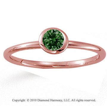 Rose Gold Round Bezel Emerald Stackable Ring