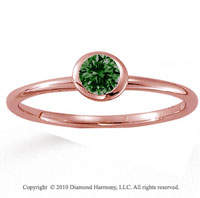 14k Rose Gold Round Bezel Emerald Stackable Ring